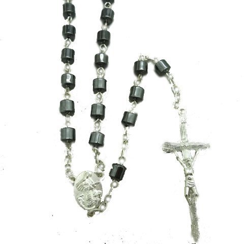 Nonmagnetic Hematite Cylinder Beads Rosary Black Catholic Necklace Holy Medal & Cross ()