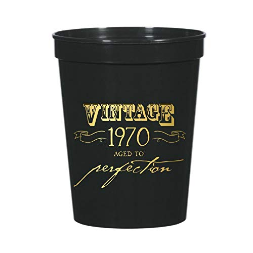 Vintage 1970 Aged to Perfection Cups for a 50th Birthday Party Decor or Partyware, Set of 10 Plastic Stadium Cups, Funny Gag Gift 50th Party Decor