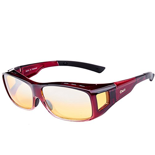 c5f02c2c9d Duco Night Vision Glasses Polarized Wrap Around Prescription Eyewear 8953Y  (Plus Size Wine Red)