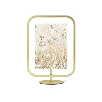 Umbra Infinity Sqround 5x7 Rectangular Picture Frame, Floating Photo Display for Desk or Wall, Brass