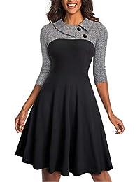 Women's Lapel 3/4 Sleeve Church Aline Colorblock Work Dress A121