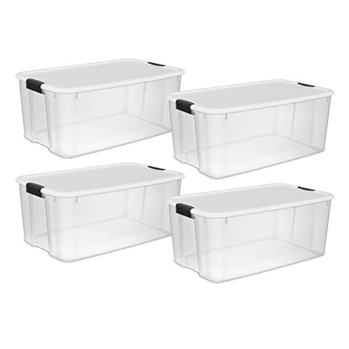 Sterilite 19909804 116 Quart/110 Liter Ultra Latch Box, Clear with a White Lid and Black Latches, 4-Pack -