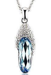 Blue Glass Crystal Rhinestone Slipper Shoe Silver Tone Necklace Pendant Women's Fashion Jewelry
