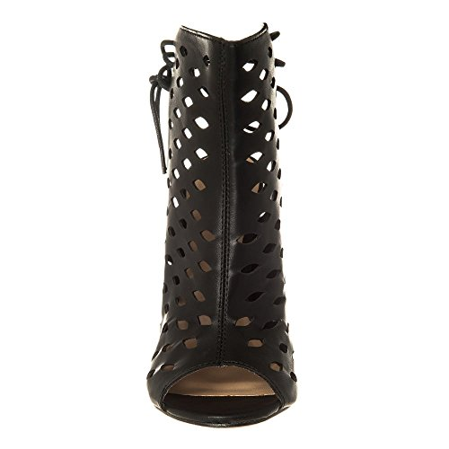 Ladies Womens High Stiletto Heel Cut Out Shoe Boot 3 BLACK PU QyUig