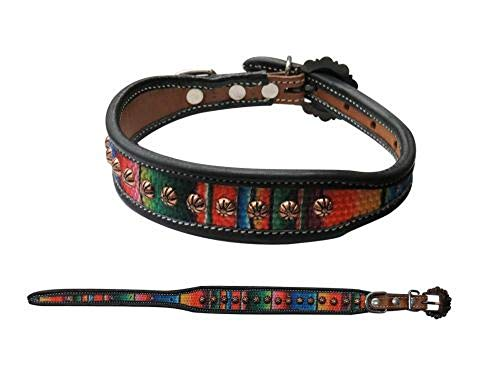 Showman Couture Embroidered Serape Pattern Inlay Studded Leather Dog Collar (Small 8 3/4