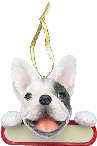 E&S Pets French Bulldog Ornament Santa's Pals With Personalized Name Plate A Great Gift For French Bulldog Lovers