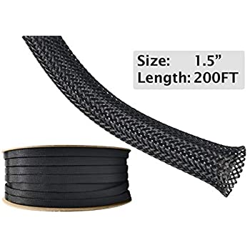 Image of Cable Sleeves Electriduct 1.5' PET Expandable Braid Sleeving Flexible Wire Mesh Sleeve - 200 Feet - Black