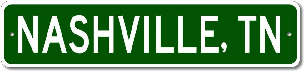 Nashville, Tennessee - USA City and State Street Sign - Personalized Metal Street Sign, Man Cave Destination Sign, Idea, Pub Bar Wall Decor, Made in USA - 4x18 inches