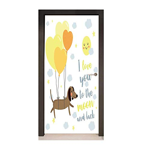 I Love You Decor Door Mural Dog with Balloons and Concept Hearts Sun Clouds Puppy Best Friends for Home Decor Yellow Cocoa Blue Grey,W17.1xH78.7