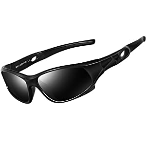 ATTCL Kids Hot TR90 Polarized Sunglasses Wayfarer Style For Boys Girls Child Age 3-10 1P5025black-black