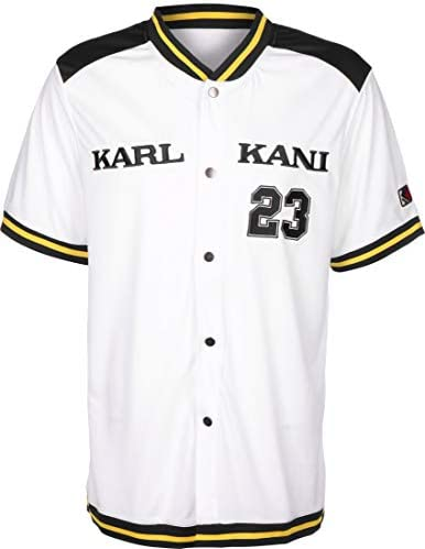 Karl Kani College Baseball Camisa de Manga Corta White/Navy/Yellow: Amazon.es: Ropa y accesorios