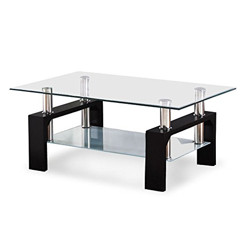 Danish Modern Coffee Table - Glass Coffee Table Wood Chrome Set Black Rectangular Living Room Furniture