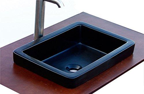 (ELIMAX'S Bathroom SR-7444MB Semi-recessed Ceramic Porcelain Vessel Sink Rectangle with Free Chrome Pop Up Drain)