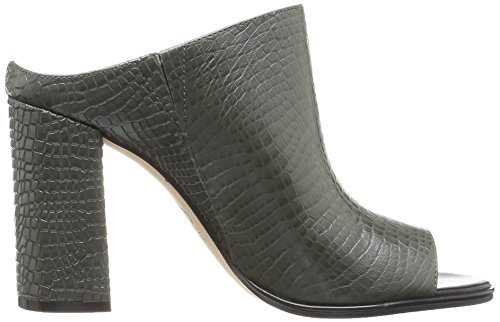 Women's Open Heel Toe Donna Autumn Fix Embossed Mule The High Leather Green 5SgAfxq