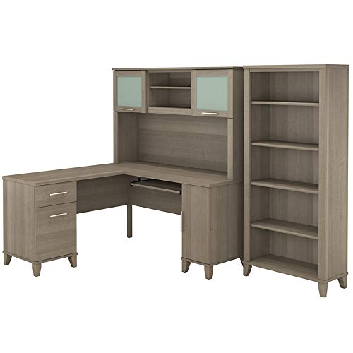 - Bush Furniture Somerset 60W L Shaped Desk with Hutch and 5 Shelf Bookcase in Ash Gray