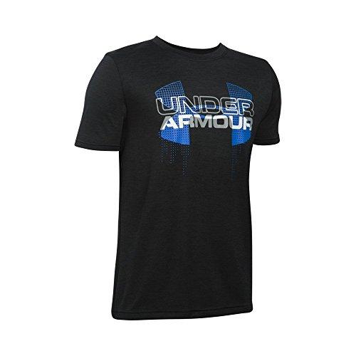 Under Armour Boys' Tech Big Logo Hybrid, Black/Ultra Blue, Youth Medium