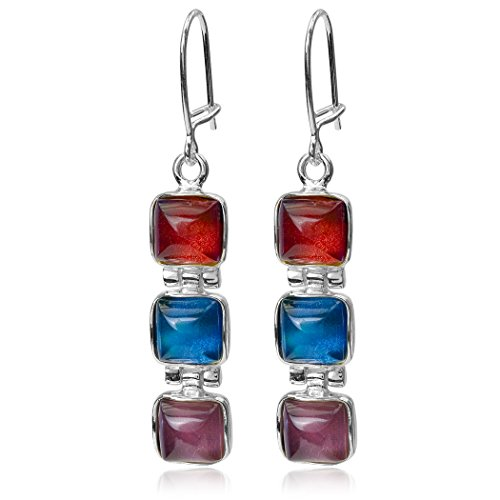 Multicolor Amber Sterling Silver Square Contemporary Earrings