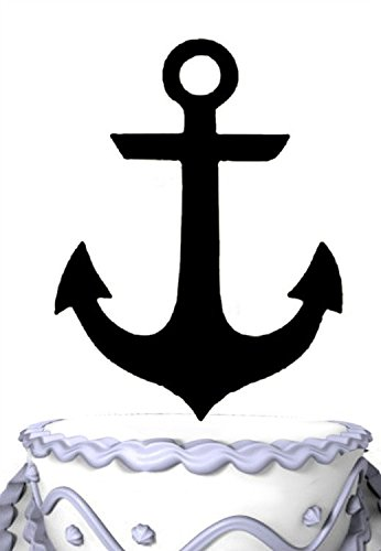 (Meijiafei Personalized Anchor Sign Cake Topper Silhouette for Happy Wedding Party Collection)