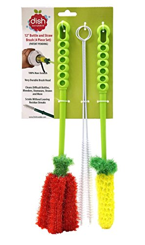 Stemware Brush (Long Bottle Brush Cleaner Set (3-in-1) and Straw Brushes | Thick and Thin Brush with Straw Cleaners for Washing Baby Bottle, Water Bottles, Mugs)