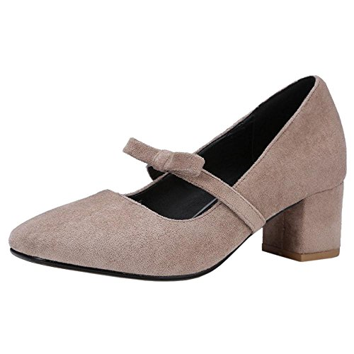 TAOFFEN Women's Shoes Block apricot Heel Pumps wYRgYcaq