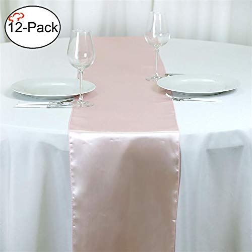 Blush Wedding Decor (Tiger Chef 12-Pack Blush 12 x 108 inches Long Satin Table Runner for Wedding, Table Runners fit Rectange and Round Table Decorations for Birthday Parties, Banquets, Graduations,)