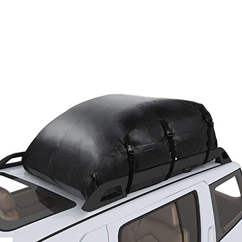 Adakiit Car Roof Bag Top Carrier Cargo Storage Rooftop Luggage 1000D Waterproof PVC Soft Box Luggage Outdoor Water Resistant for Car with Racks,Travel Touring,Cars,Vans, Suvs (20 Cubic Feet)