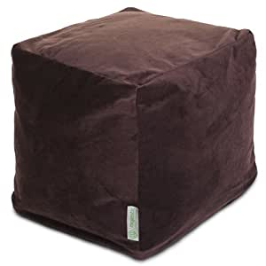Majestic Home Goods Faux Suede Cube, Small, Dark Brown