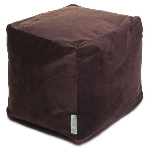 Bean Cube (Majestic Home Goods Faux Suede Indoor/Outdoor Bean Bag Ottoman Pouf Cube, 17