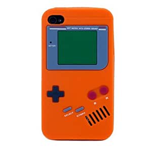 JiLee New Gameboy Soft Silicone Case Cover for Apple iPhone 4 4G 4S -Orange(Random Gift 2 PCS Cartoon Sticker)