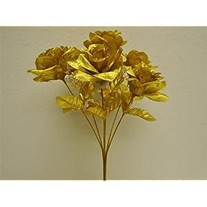 """3 Bushes Gold Open Rose 7 Artificial Silk Flowers 15"""" Bouquet 775GD 2"""