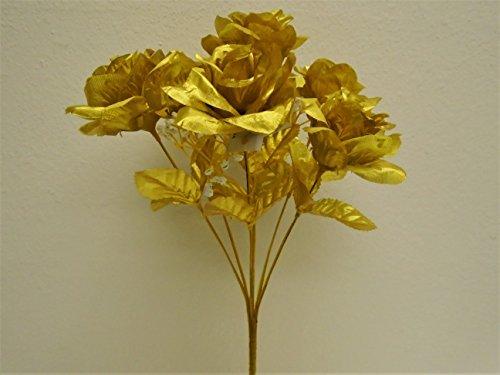3-Bushes-Gold-Open-Rose-7-Artificial-Silk-Flowers-15-Bouquet-775GD