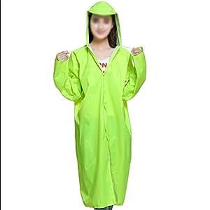 Q-HAI Moda Coreana Impermeable Lluvia Impermeable Largo Poncho con capotas y Mangas (Verde Fluorescente)