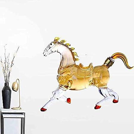 Decantador de whisky, transparente transparente Aireador de whisky Forma de caballo - Dispensador de tapón sellado de vidrio de borosilicato alto, para licor Scotch Vodka o vino,Oro
