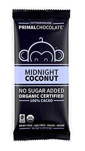 eatingEVOLVED - Organic Primal Chocolate, Midnight Coconut, 100% Cacao, 2.3 oz Bar (8 count)