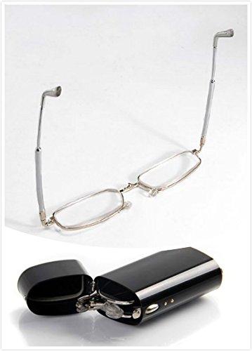 Unisex Men Women Spring Temple Reading Glasses +2.00 Ultra Slim Folding Foldable Readers Eyeglasses Eyewear with Portable Pocket - Eyeglasses Cheap Rx