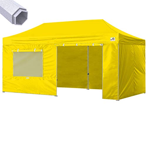 (Eurmax Premium 10 x 20 Ez Pop up Canopy Instant Canopies Commercial Grade Outdoor Canopy Package Deal Party Tent Wedding Gazebo Quick shelter with 4 Sidewalls Bonus Roller Bag (Yellow))