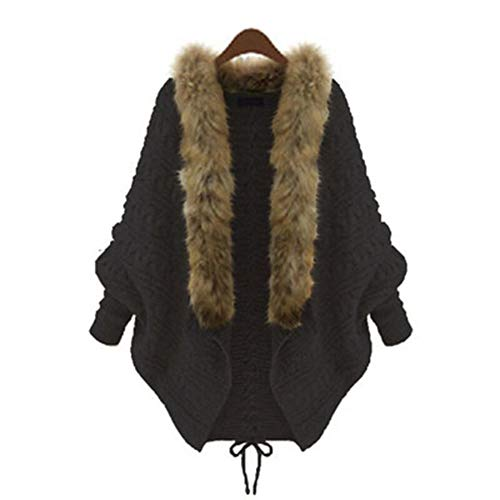 Women Open Front Knit Cardigan with Fur Collar Loose Bat Sweater Tops,Free Size ()