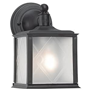 One Light Outdoor Wall Lantern in Black Finish
