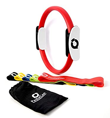 Pediacap Pilates Ring Magic Yoga Fitness Circle and Set of 5 Resistance Loop Exercise Bands with Carry Bag