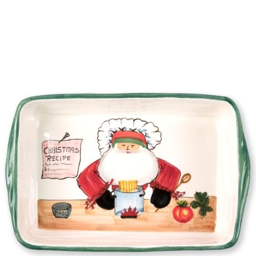 (Vietri Old St. Nick Rectangular Baker, Santa's Christmas Recipe On Handcrafted Baking Piece)
