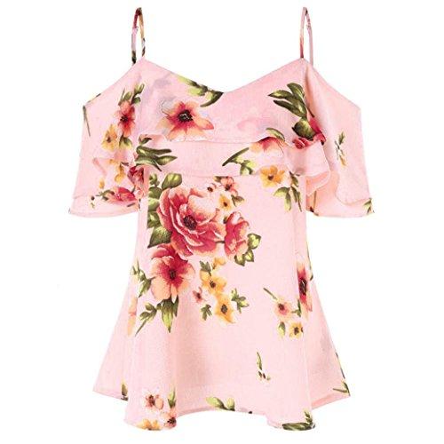 iTLOTL Women Floral Printing Off Shoulder Shirt Sleeveless Vest Tank Tops Blouse(US:8/CN:M, Pink)