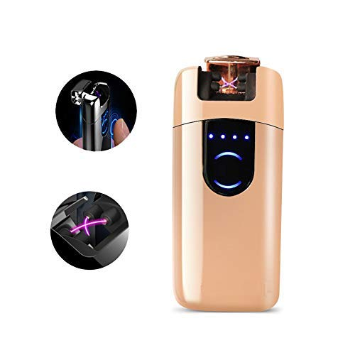 OIIKURY Electric Lighter Tesla Windproof USB Rechargeable Dual Arc Plasma Lighter with LED Display Power (Rose Gold)