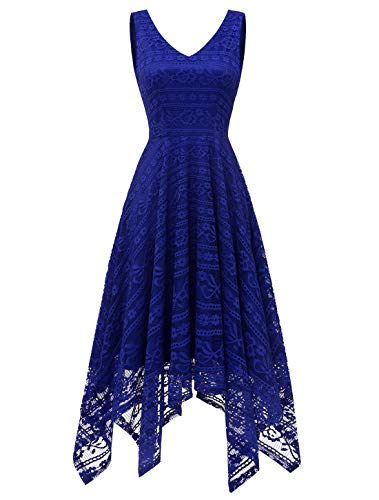 MODECRUSH Womens Cocktail Party Wedding Floral Lace V Neck Evening Formal Dresses 2XL RoyalBlue ()
