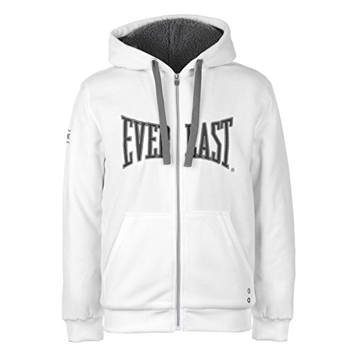 Everlast Mens Polar Fleece Zip Hoody Lined Hoodie Hooded Top Long Sleeve Full White Medium