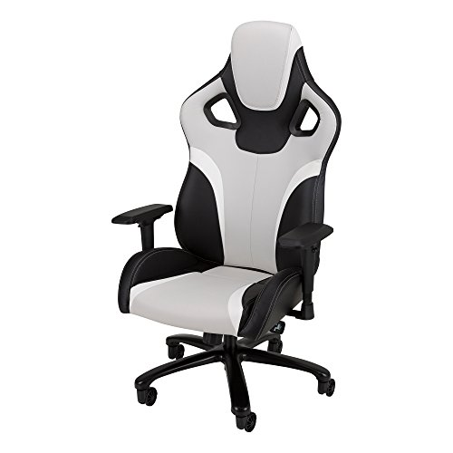 Galaxy XL - Racing-Style Gaming Chair by SkyLab Performance Seating F.C., Grey/Black/White School Outfitters