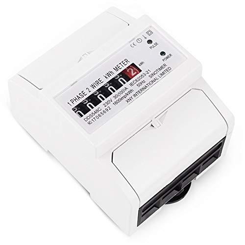 Silverdrew Medidor de contador de energ/ía monof/ásico de 2 cables Anal/ógico kWh 5-100A 230V AC 50Hz Medidor de potencia Hogar El/éctrico Montaje en riel DIN