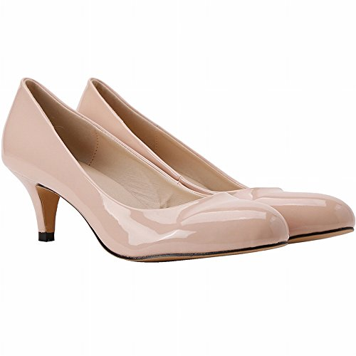Leather Shoes Dethan Dress High Womens Pumps Patent Toe apricot Pointed Party Wedding Heel Fashion xqTzgEqwf