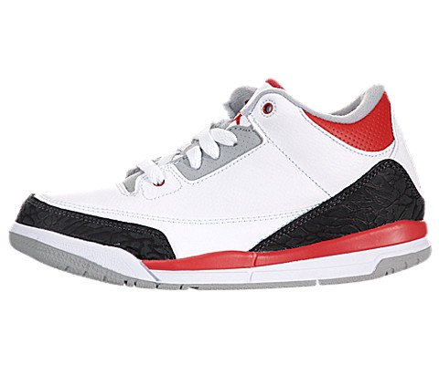 Jordan III (3) Retro (Preschool) - White / Fire Red-Sliver-Black, 11 M US by Jordan