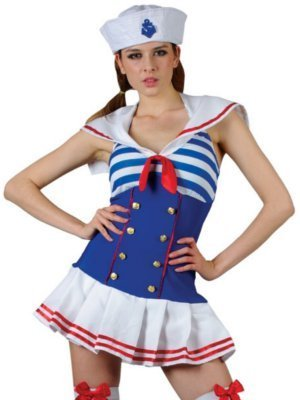 Wicked - Ladies Sexy Shipmate Cutie Sailor Fancy Dress Costume - Medium - UK Size 14-16 - Shipmate Cutie Sailor Costumes