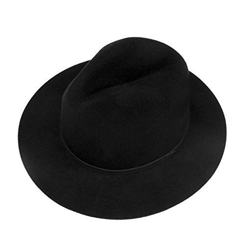 Choomon Women Wool Felt Trilby Fedora Hat Wide Brim Jazz Hat With Sample Band (Black)